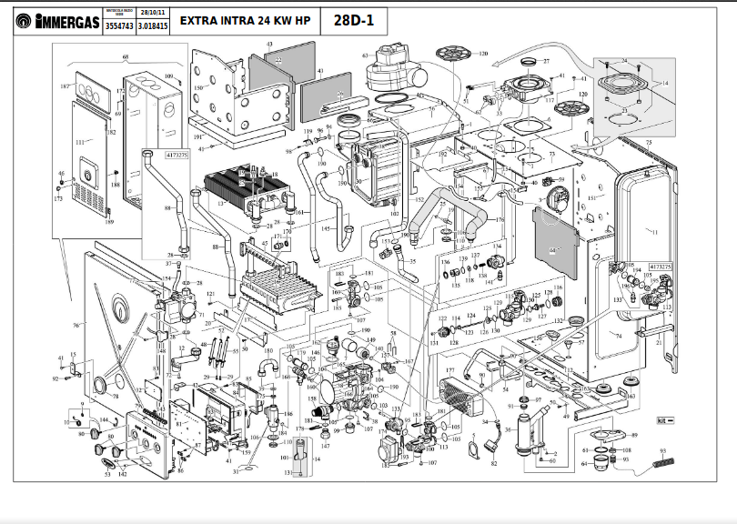 RECUPERATORE DI CALORE IMMERGAS EXTRA INTRA HP 24//30 KW COD.3.025450 RIC.ORIGIN.